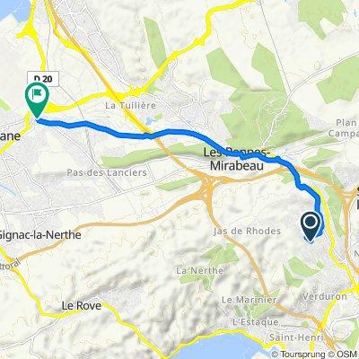 De 8B–8Bis Chemin du Jas de Rhodes, Les Pennes-Mirabeau à 24–32 Boulevard Maurice Noguès, Saint-Victoret