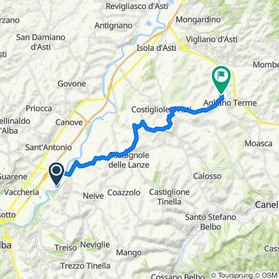 Località Vaccheria, Barbaresco naar Via alle Fontane 54, Agliano