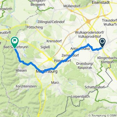 Route von Fachmarktzentrum 2, Gemeinde Siegendorf
