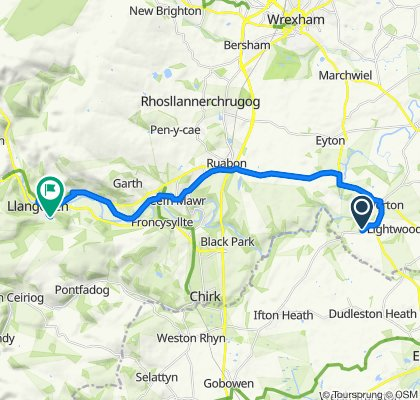 B5069, Wrexham to 6 Maes Pengwern, Llangollen