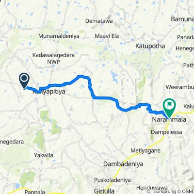 Kurunegala-Narammala-Madampe Road, Dandagamuwa to Narammala