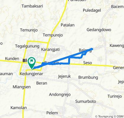 Mlangsen, Kecamatan Blora to Jalan Reksodiputro No.20, Kecamatan Blora