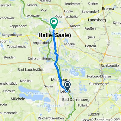Rosenstraße 2, Leuna nach Schopenhauerstraße 4, Halle (Saale)