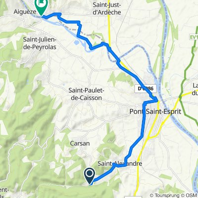 290 Chemin de l'Arnave, Carsan nach 6005 Rue du Candelas, Saint-Martin-d'Ardèche