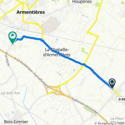 De 1955 Route Nationale, La Chapelle-d'Armentières à 90 Rue Marle, La Chapelle-d'Armentières