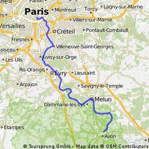 Paris - Fontainebleau (sortir de Paris en vélo) CLONED FROM ROUTE 311763