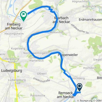 Remseck Fussballplatz bis Freiberg Hinfahrt