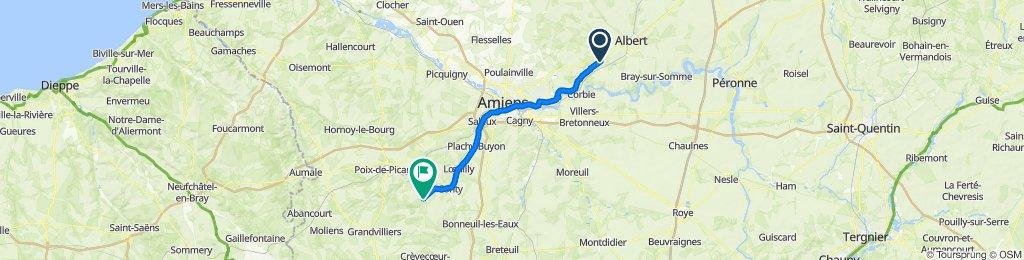 De 9 Rue de Lavieville, Ribemont-sur-Ancre à 1 Grande Rue, Courcelles-sous-Thoix