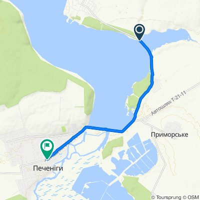 От Unnamed Road до улица Харьковская 80, Печеніги