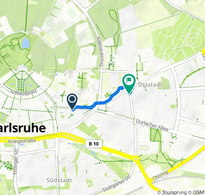 Kaiserstraße 39, Karlsruhe nach Georg-Friedrich-Straße 4, Karlsruhe