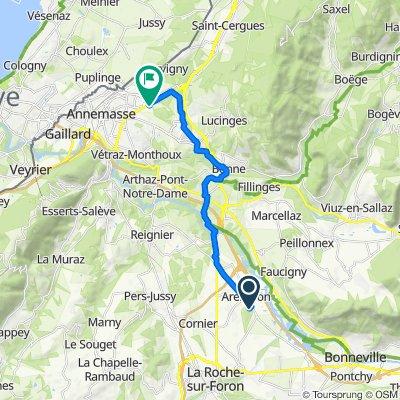 De 656 Route de Bonneville, Arenthon à 2 Rue Germain Sommeiller, Annemasse