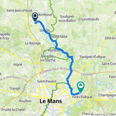 De Les Vignes, Sainte-Jamme-sur-Sarthe à 35 Rue de Villeneuve, Yvré-l'Évêque