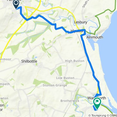 Gilly Alnwick to Warkworth Alt Route