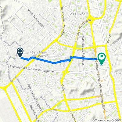 De Avenida Santa Rosa, Cercado de Lima a Jr. Las Toronjas 343, Lima