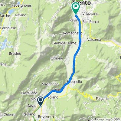 Da Via Valdiriva 13, Rovereto a Tangenziale Ovest, Trento