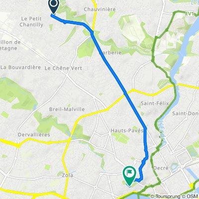 De Place Bellevue, Orvault à 5–7 Rue des Cadeniers, Nantes