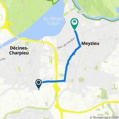 De Avenue de France, Décines-Charpieu à 25 Rue Victor Hugo, Meyzieu