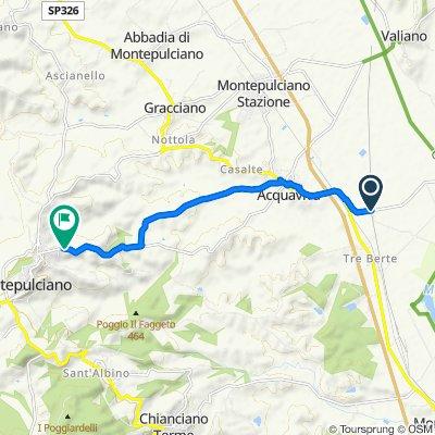 Da Via Pozzolese, Montepulciano a Via delle Cetine 2, Montepulciano