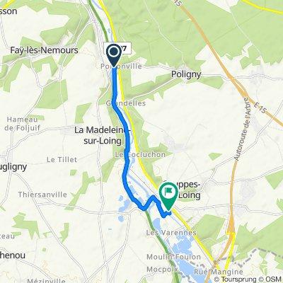 De Chemin des Pâtures, Bagneaux-sur-Loing à Avenue du Foyer, Souppes-sur-Loing
