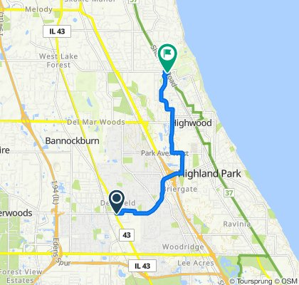 675 Deerfield Rd, Deerfield to 1000 Sheridan Rd, Highwood