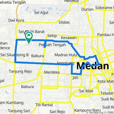 Jalan Gaperta No. 130, Medan Sunggal to Jalan Piazza No. 13, Medan Sunggal