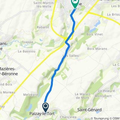 De D120 2, Paizay-le-Tort à Place René Groussard 5, Melle