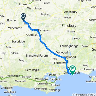 Route from Berkeley Cottage, High St, Warminster