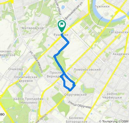 От Мичуринский проспект, 16с1, Москва до улица Столетова, 1, Москва