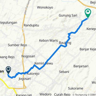 Jalan Sidomukti no.3, Kecamatan Pandaan to Jalan Raya Pandaan - Bangil, Kecamatan Beji