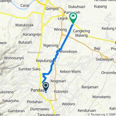 Jalan Sidomukti no.3, Kecamatan Pandaan to Jalan Randupitu-Gunung Gangsir 5, Kecamatan Beji
