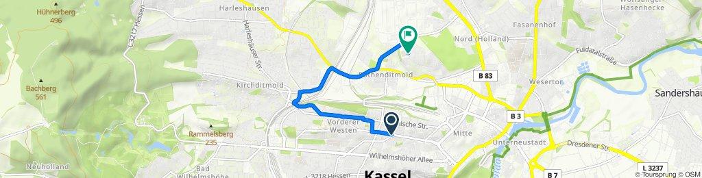 Friedrich-Ebert-Straße 72, Kassel nach Marburger Straße 42, Kassel