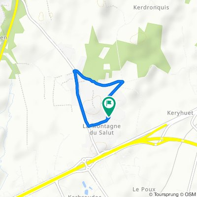 De 2 Chemin de Coed Fétan, Caudan à 13 Allée de Lezevorch, Caudan