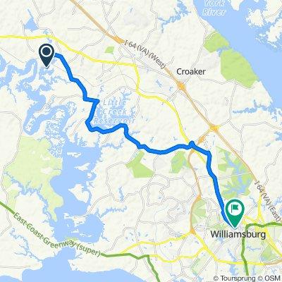 8512 Hicks Island Rd, Lanexa to 401–481 Lafayette St, Williamsburg