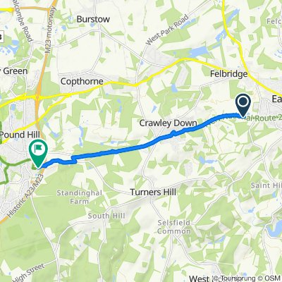 Route to Worth Way, Crawley