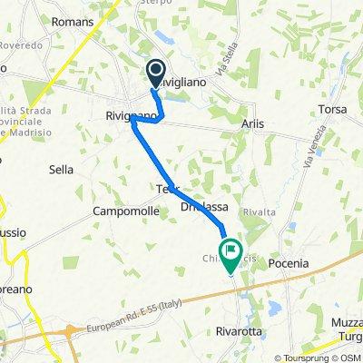 Da Via Udine in Rivignano, Rivignano a Via Friuli, Rivignano