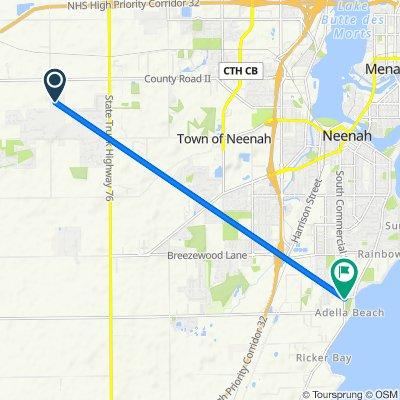 8348 Oakwood Ave, Neenah to 1674 S Park Ave, Neenah