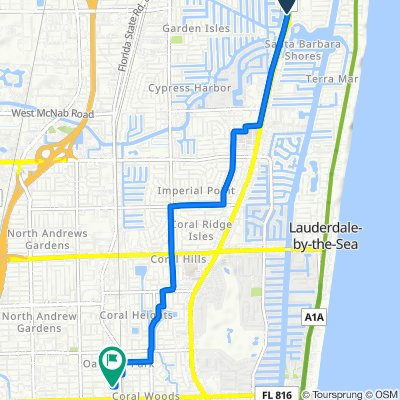 599 S Federal Hwy, Pompano Beach to 1077 NE 33rd St, Oakland Park