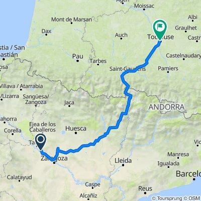 Zaragoza naar Toulouse