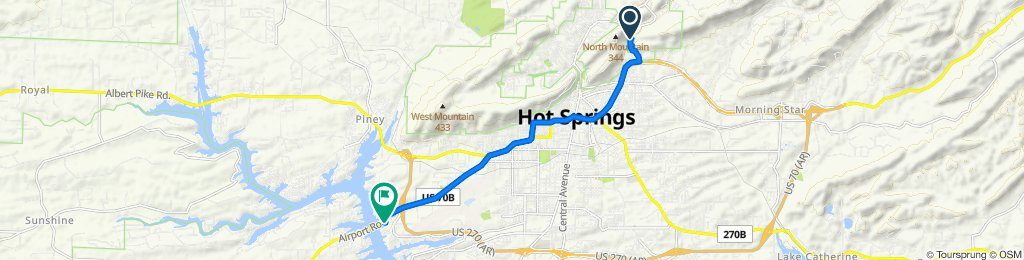 Sunset Trail, Hot Springs National Park to 1201 Airport Rd, Hot Springs