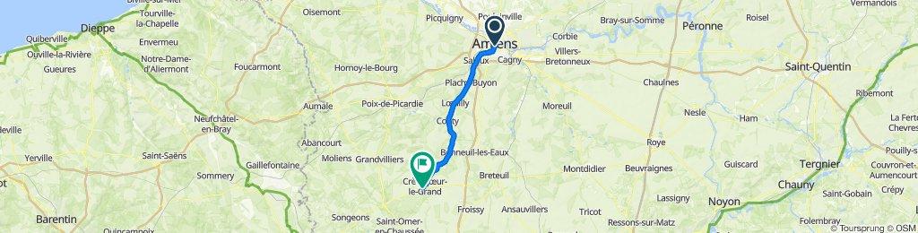 De 7 Rue Duthoit, Amiens à 1 Rue de Grandvilliers, Crèvecoeur-le-Grand