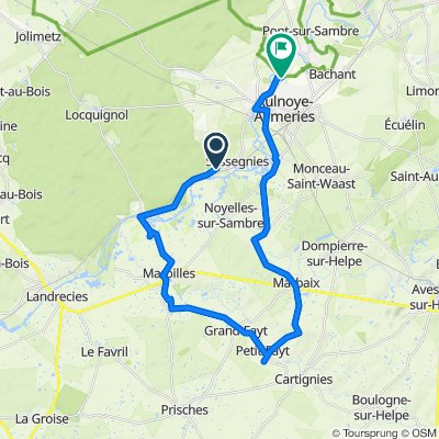 De Grand Rue, Sassegnies à 3bis Rue de Pont-sur-Sambre, Aulnoye-Aymeries