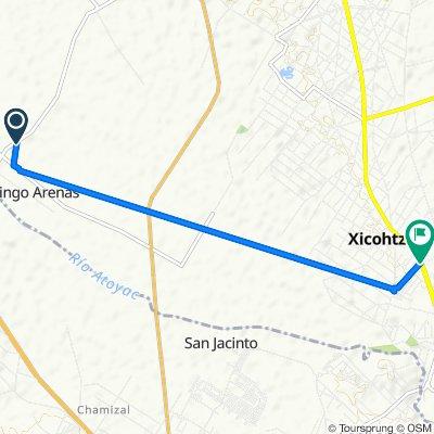 De Carretera Xoxtla - Tetlatlahuca, Tetlatlahuca a Avenida Hidalgo 405, Xicohtzinco