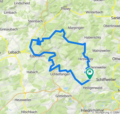 Ww-Hirzweiler-Urexweiler-Berschweiler-Finkenrech-Aschbach-Calmesweiler-Eppelborn-Humes-Uchtelfangen-Illingen-Eckstein Warken Weg-Ww