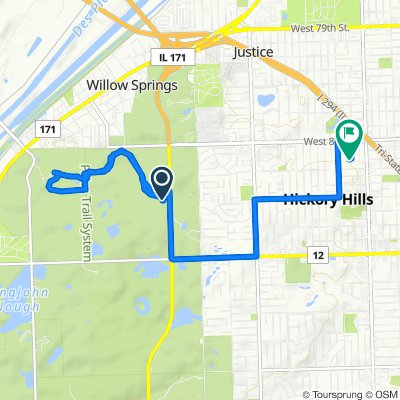 Route to 8752 S 81st Ave, Hickory Hills