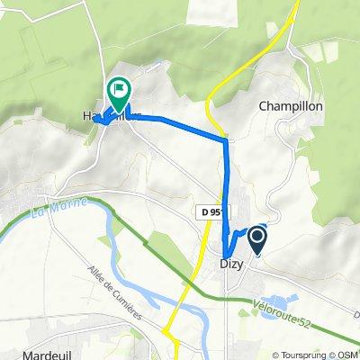 708 Route de Reims, Dizy naar 1 Place de la République, Hautvillers