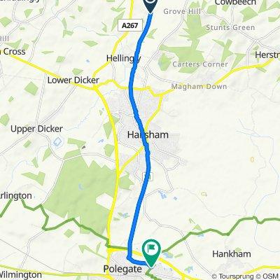 Route to 21–43 Shepham Lane, Polegate