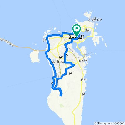 manama-tubli-riffa hunainiyah-zallaq-al areen climb nahkeel-diraz-bahrain fort -manama loop...105km