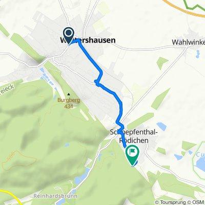 Hauptstraße 73, Waltershausen nach Hermannsteinstraße 43A, Waltershausen
