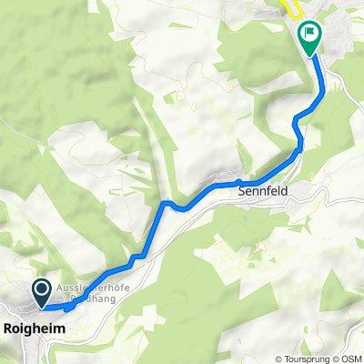 Eugen-Reichert-Straße 43, Roigheim nach Untere Austraße 38, Adelsheim