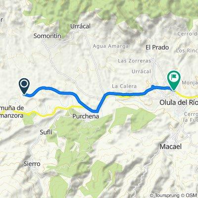 De Vía Verde del Valle del Almanzora (Armuña) a Calle Alcazaba 13, Olula del Río